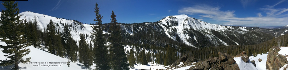 Panoramic photo of Seven Utes' Headwall Glades (left) to the East Glades (right)