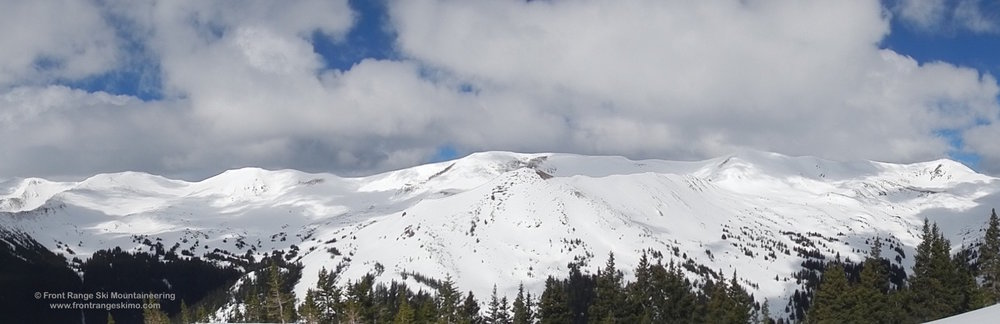 Panoramic view of Bobtail Benchmark, Jones Pass, and the surrounding peaks.
