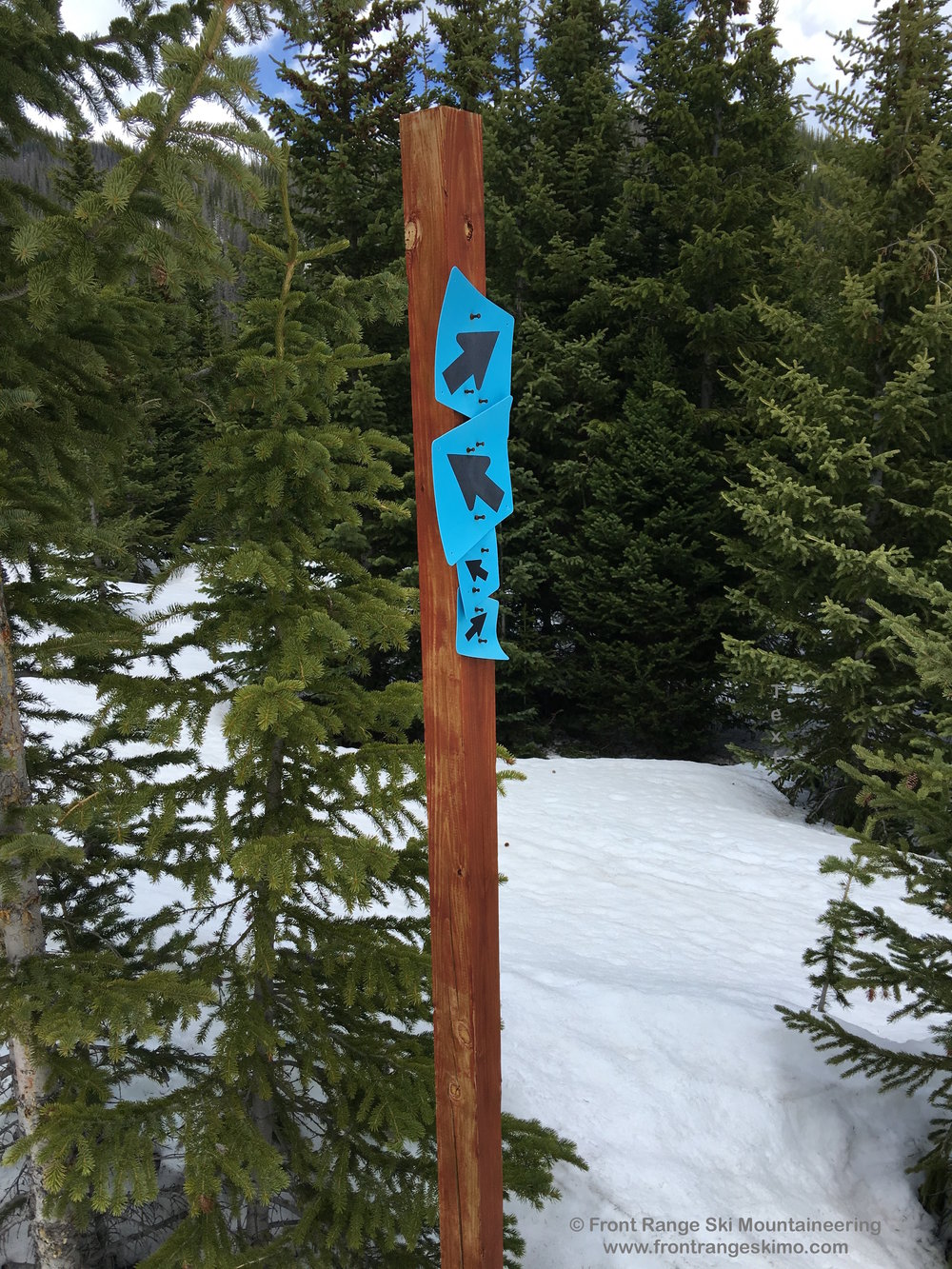 The trail marker at the junction for Clark Peak and Sawmill Peaks.
