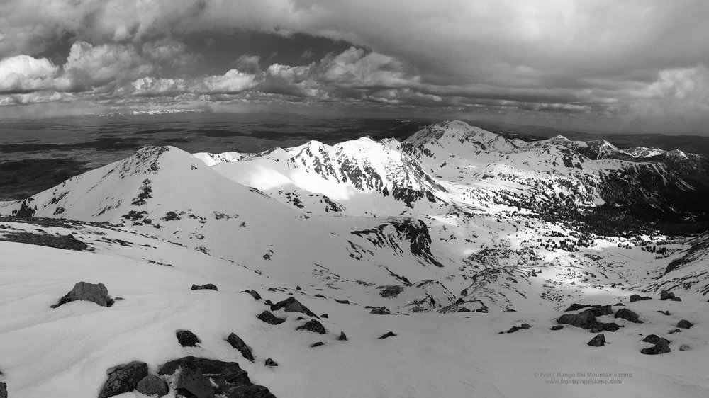 The view from Clark Peak to the north and the spectacular Medicine Bow Mountains.