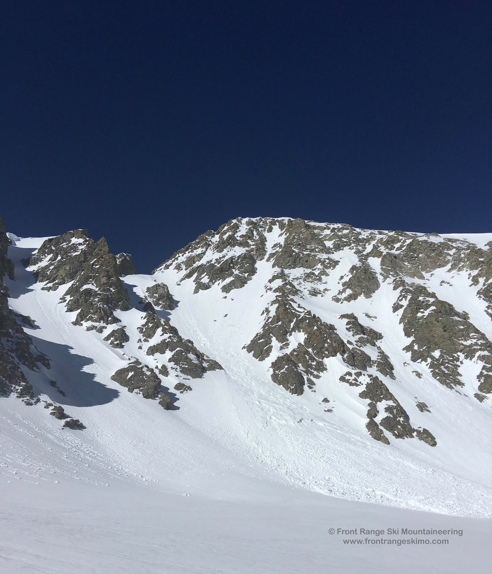 The far right X Couloir that climbs the flank of Mount Mahler.
