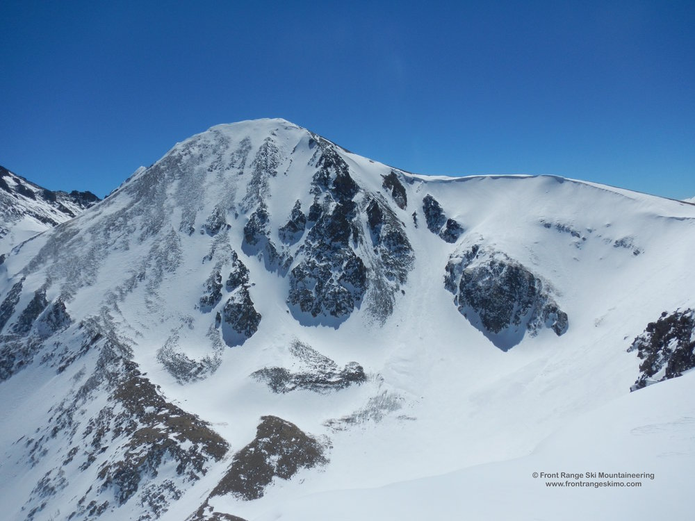 The North Face of Mount Mahler has been skied. The looker's left side stays windswept and the chutes in the middle go.