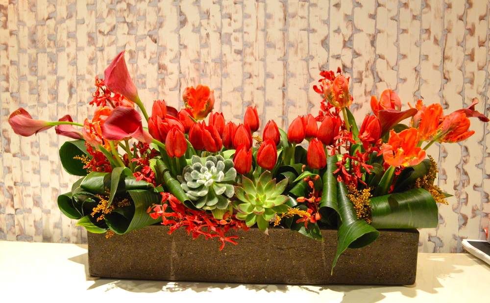 Red and Rococo tulips, Calla lilies, Mokara orchids, Aspidistra leaves and various succulents in a ceramic rectangular vase.