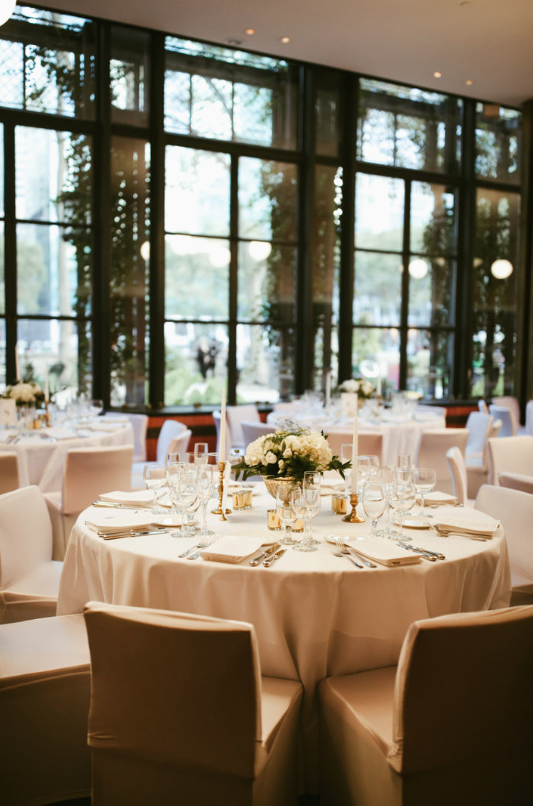 Sophisticated reception tables, Saratoga Springs, Lisa and Will's Wedding at Bryant Park, NYC, www.snfloraldesign.com