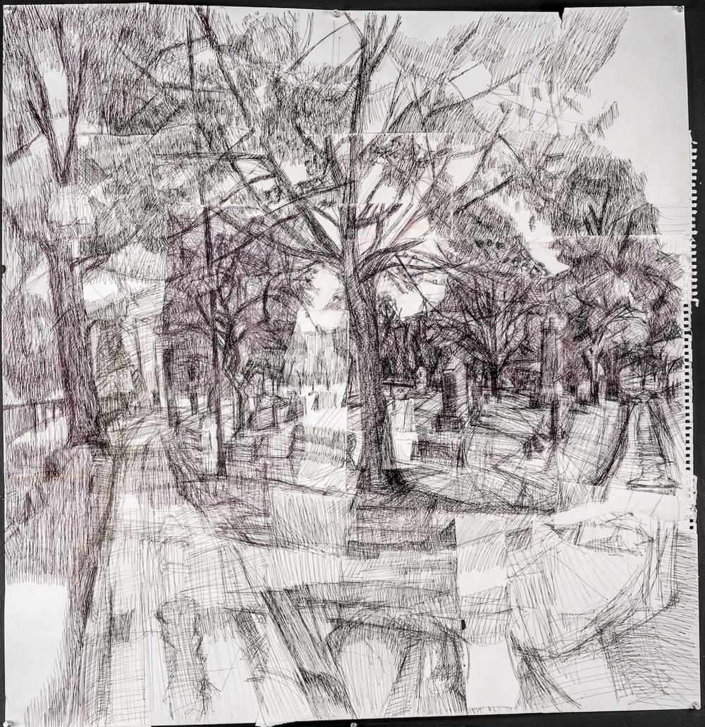 Graveyard # 1, Ink Pen and Cut Paper 36 x 35 Jesse Thomas