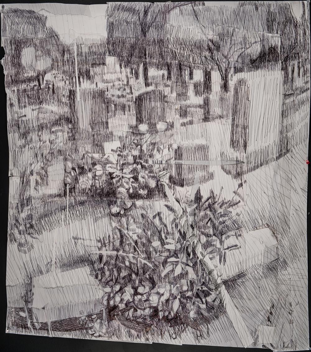 Graveyard # 6, Ink Pen and Cut Paper 45 x 40 Jesse Thomas