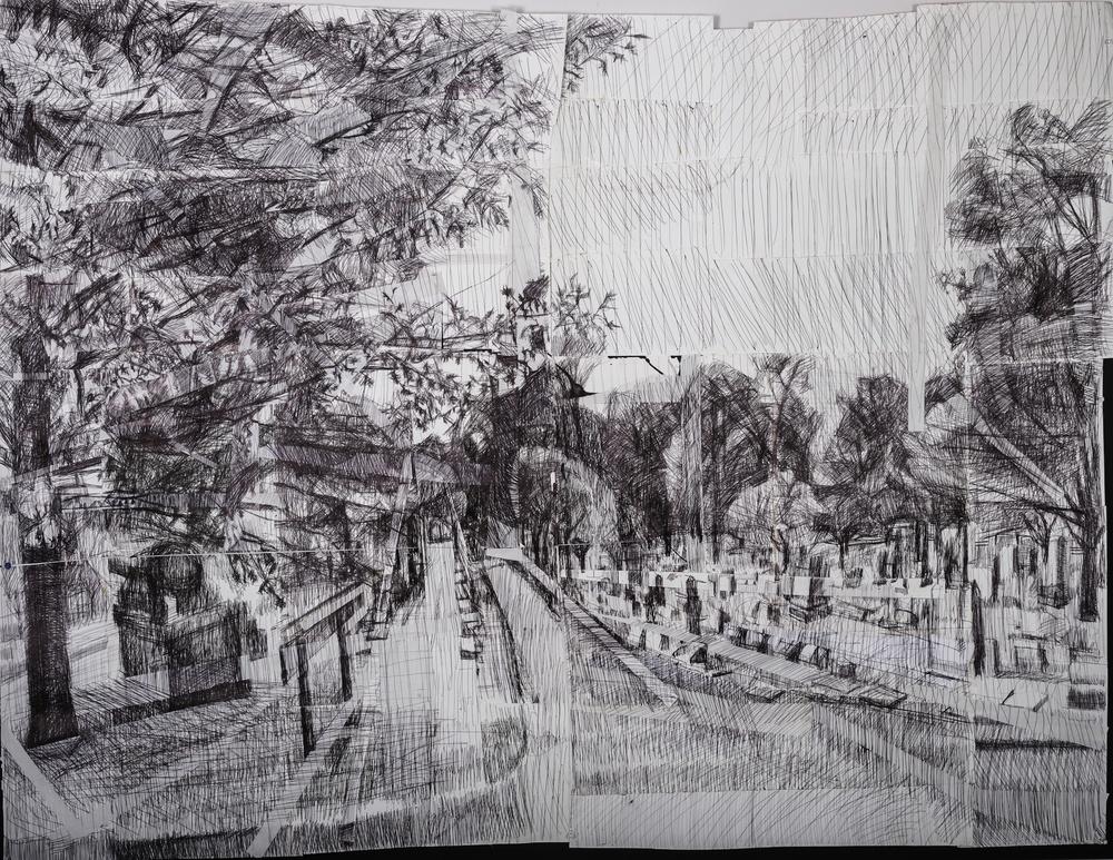 Graveyard # 4, Ink Pen and Cut Paper 55 x 70 Jesse Thomas
