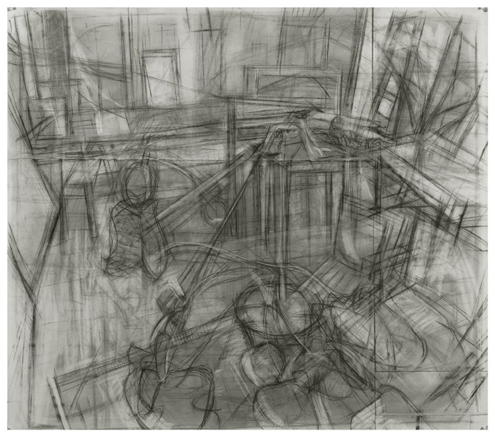 Studio Interior, Charcoal on Paper 40 x 40 Jesse Thomas