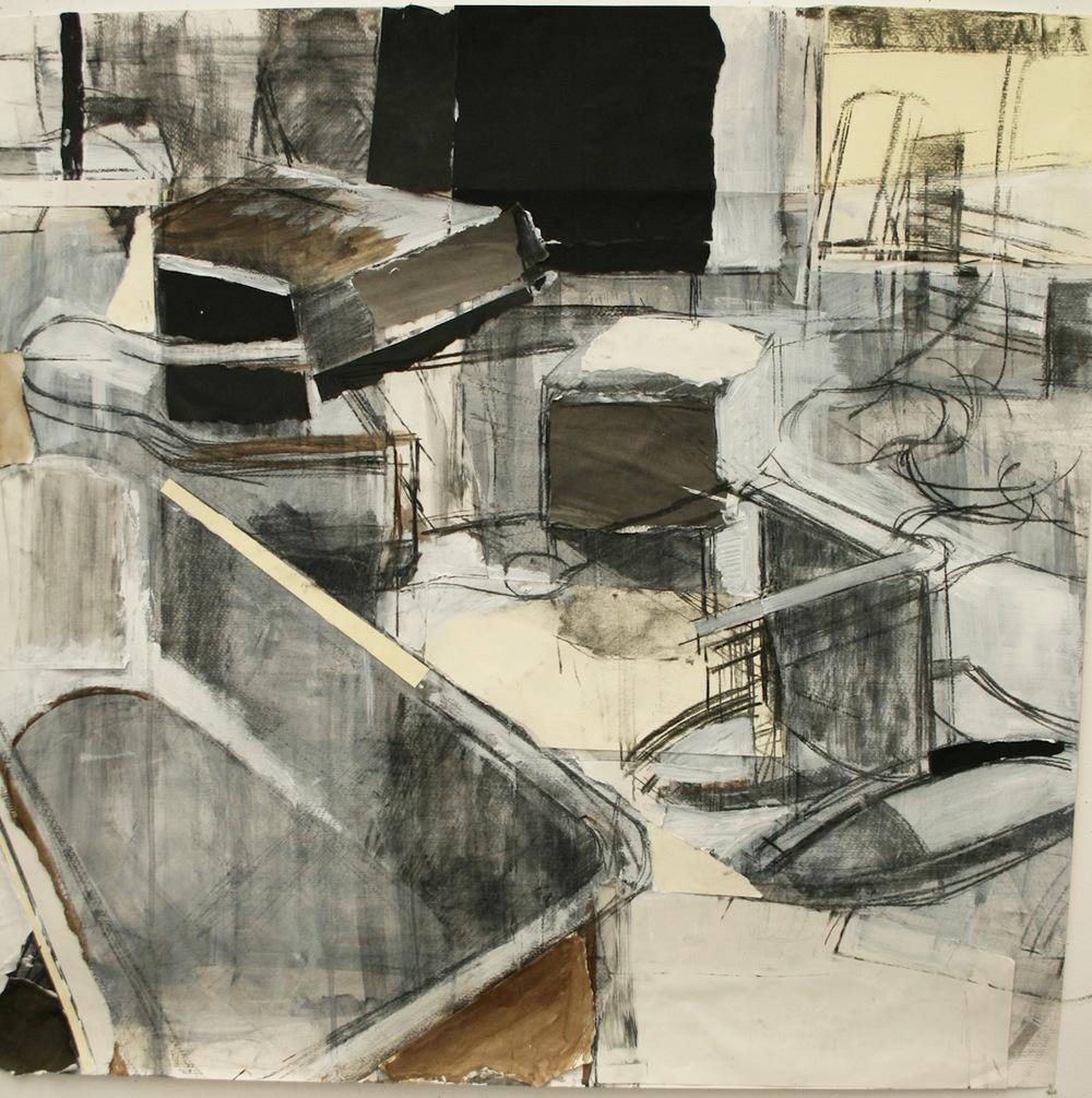 Studio Interior, Mixed Media on Paper 44 x 45 Jesse Thomas