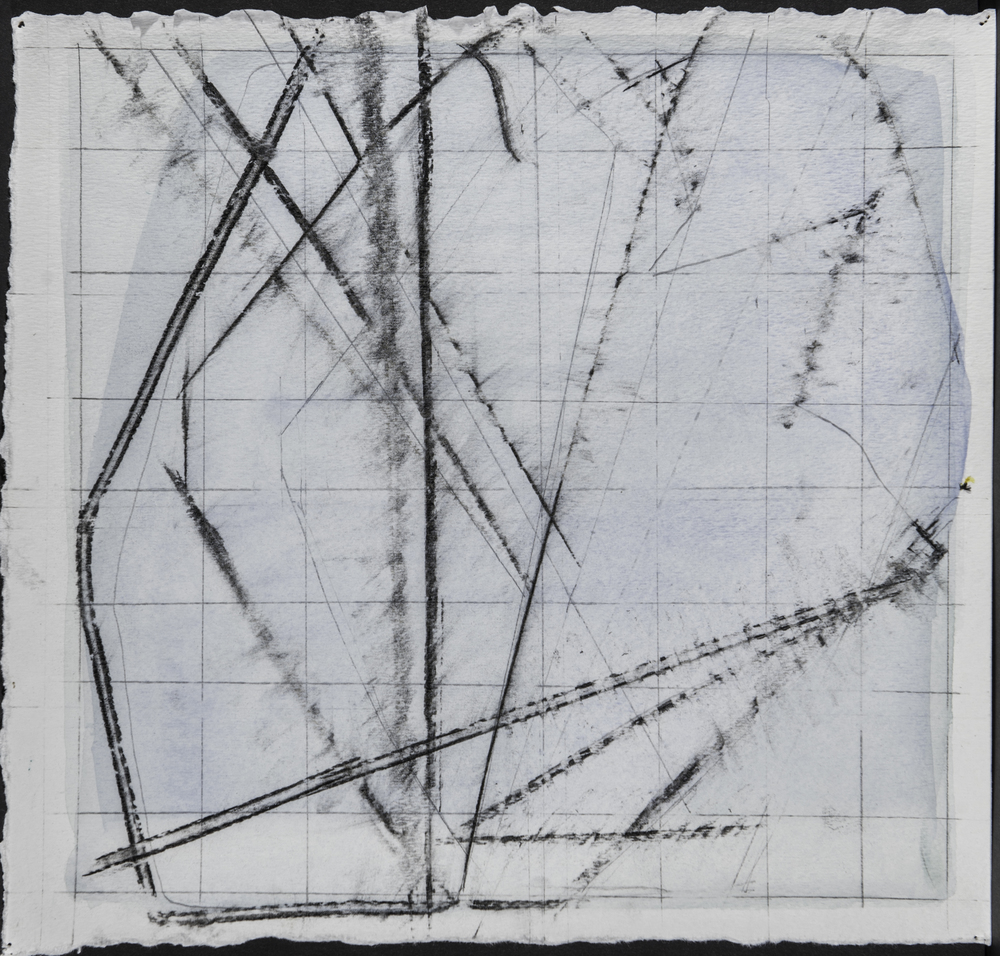 Falling Apart and Assembling #1, Graphite and Home Made Pigment on Paper 13 x 13 Jesse Thomas