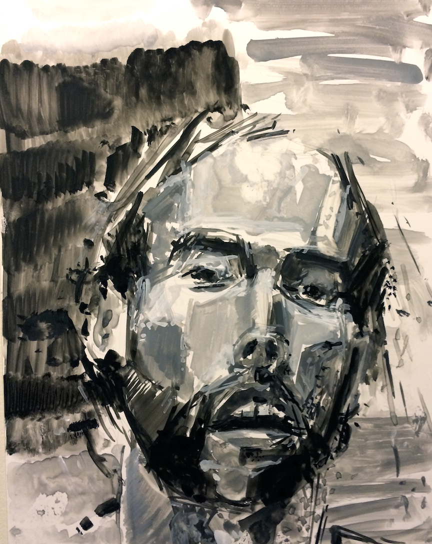Too Much Wine # 3 Guache and Ink on Yuppo 16 x 14 Jesse Thomas