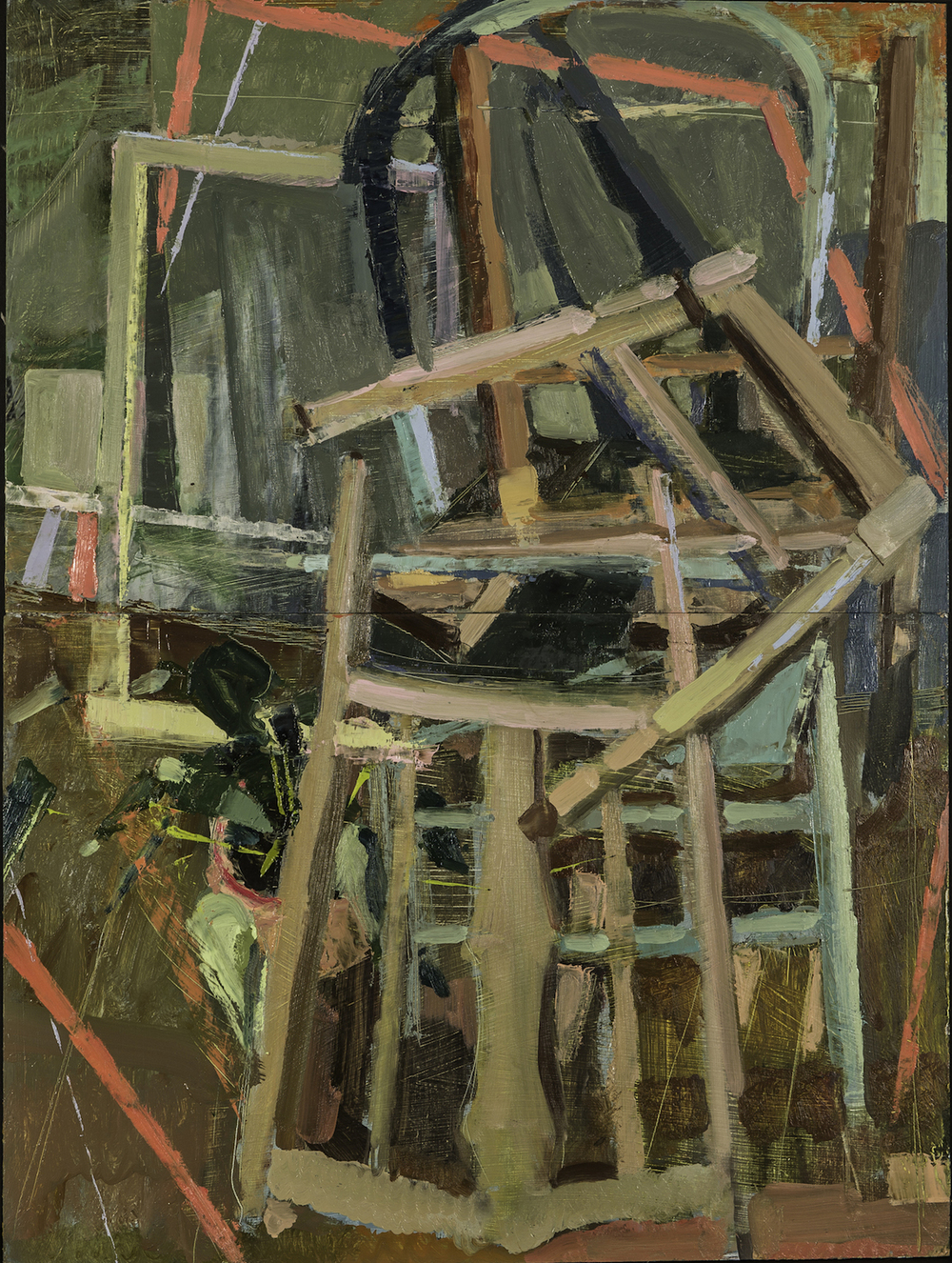 Night Chairs and Broken Windows, Home Made Oil on Panels 30 x 19 Jesse Thomas