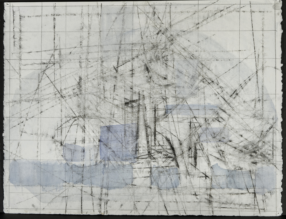 Falling Apart and Assembling #5, Graphite and Home Made Pigment on Paper 24 x 36 Jesse Thomas