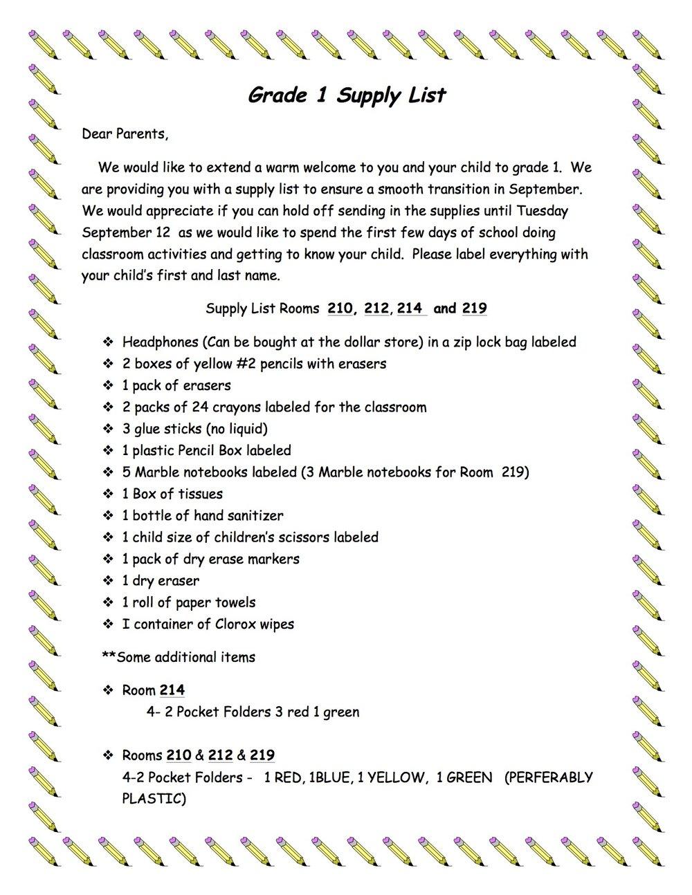 Grade 1 Supply List 210_212_214_219