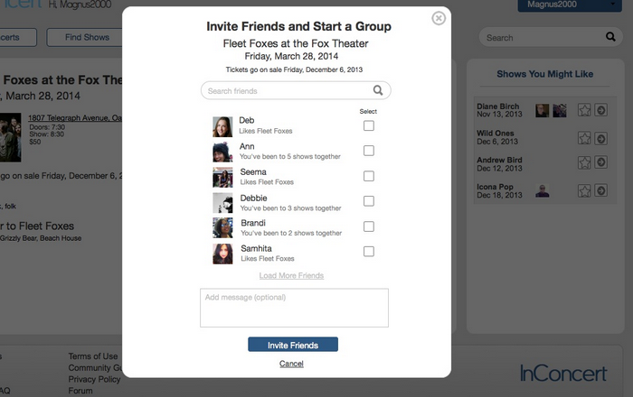Invite friends workflow page one
