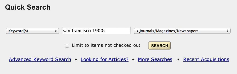 "Users searched for articles using general keywords in ""Quick Search."""