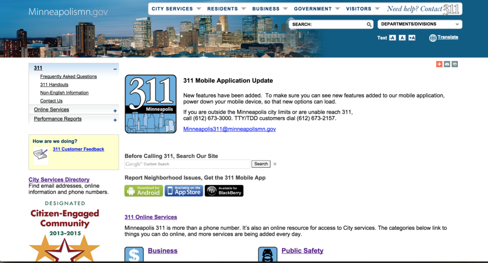 The current Minneapolis 311 page