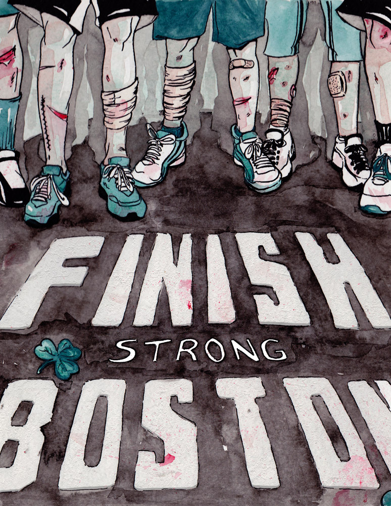 "A quick Illustration I've done, dedicated to the city of Boston.   After hearing and seeing the tragic events unfold in Boston I decided to do the only thing I'm good at, Illustration. I only wanted one message to be read in the illustration, rather than focus on ""who done it"" or ""why Boston"" I decided to focus on the resilience of the American people. I know this simple Illustration won't alleviate the victims' pain and suffering but it is all I know how to do, and I hope Boston appreciates the sentiment. See my process  here    Stay Strong Boston"