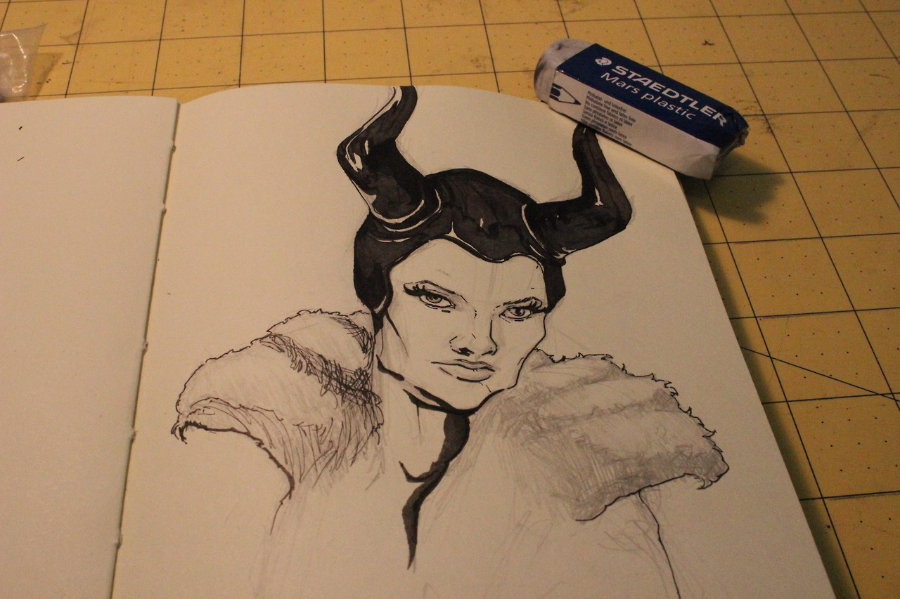 Maleficent warm up sketch. Those cheek bones are nothing to joke about.