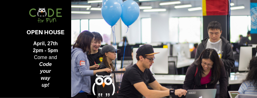 Open House & Free Coding Workshops - April 27th2 pm to 5 pm - Come to enjoy free computer science learning activities!Learn about our summer programs!Win prizes and have fun with technology!@Code for fun learning center6600, Dumbarton Circle, Fremont CA 94555Ages 6 to 18 years: Register for our summer camps - discounts for on the spot registrationsAges 16+ years: Apply for volunteering and internship Ages 21+ years: Apply for summer instructor jobFrom 2 pm to 5 pmVisit booths, explore coding, chat with our students and instructors! All materials will be provided.-Talk to our teachers at booths for various programs:-Robots - Bee Bots, Dash, Thymio, Lego WeDo-Scratch - all levels-Python - Beginner, Intermediate, Minecraft-Product and Career Design-Arduino-Mobile App Development, Cyber Security and Web Design-Data Science