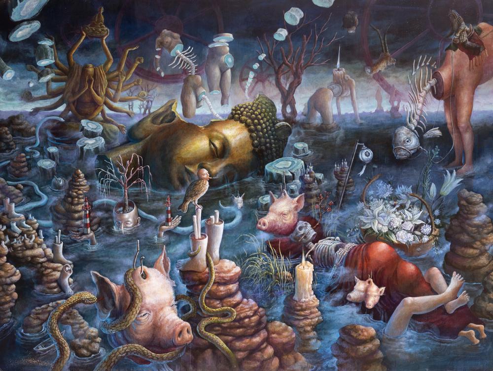 "Night : Birth, Sex, and Death  48""x36"", Acrylic on Wood Panel, 2014"