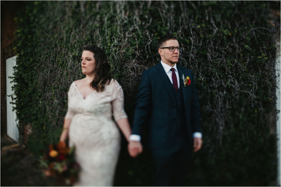Bride and groom tilt shift portrait at Art Bomb Studios by Jameykay and Arlie in Greenville, SC