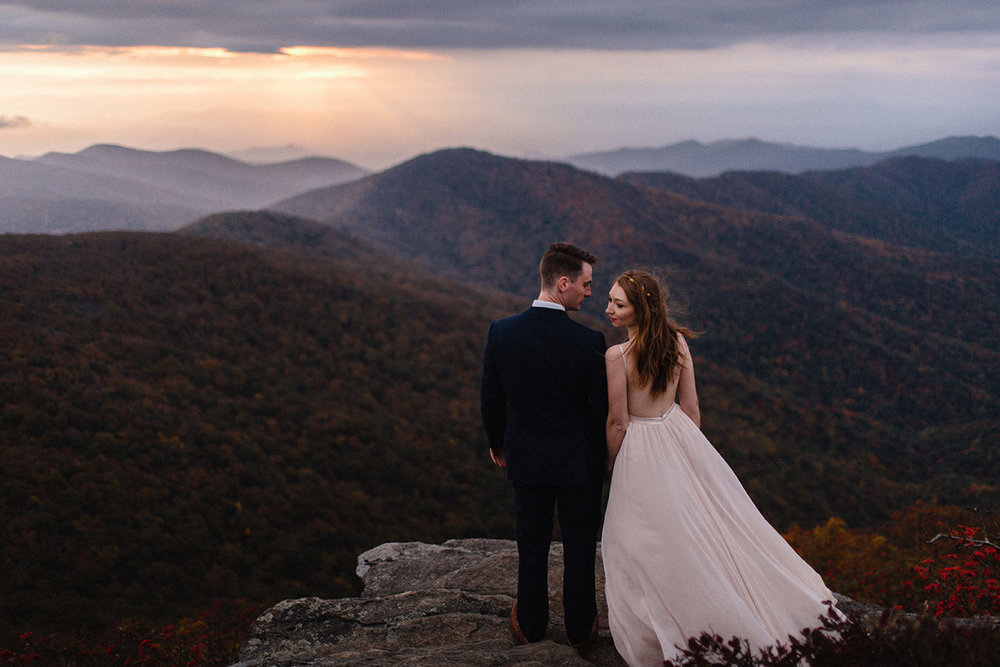 Couple eloping at Craggy Gardens off of the Blue Ridge Parkway, Asheville, NC.