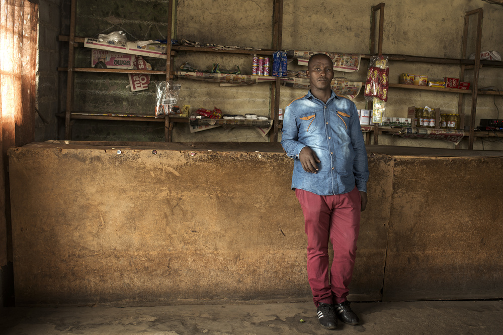 Mthobeli Gangatha in the shop that he runs from his home.