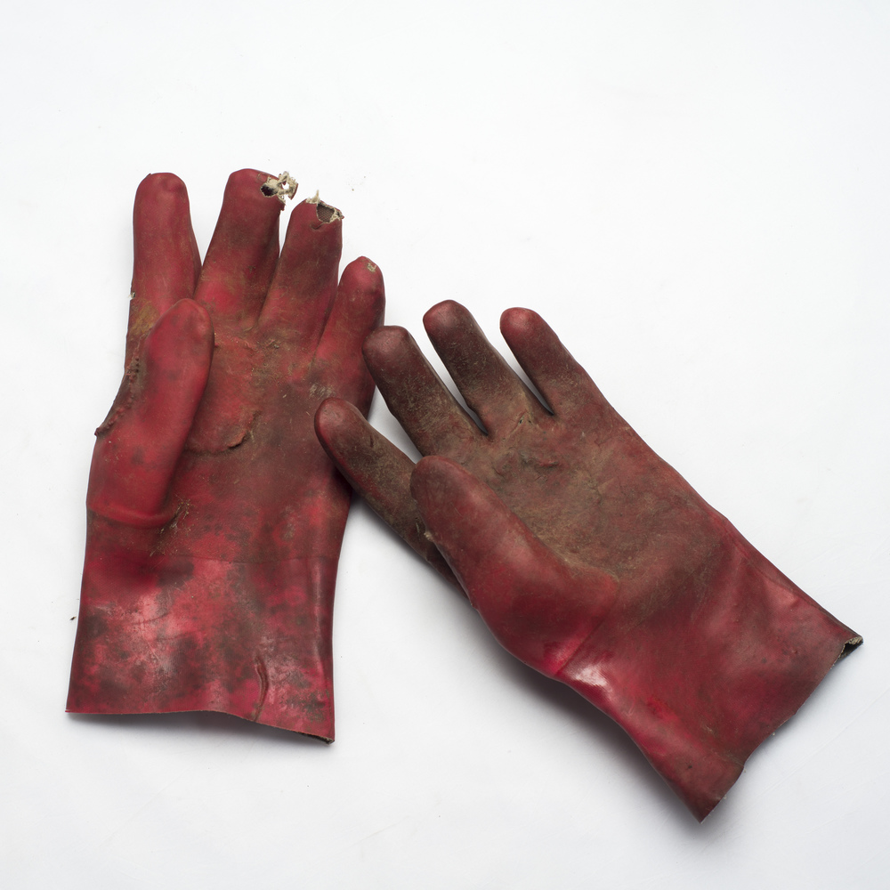 Gloves belonging to Zama Gangi from his days in the mines.