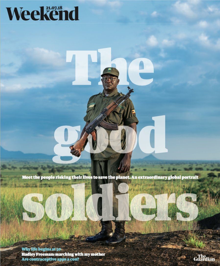 The front cover of the the Guardian Weekend Magazine from the 21st July 2018 - featuring my portrait of Samuel Loware in Kidepo National Park, Uganda