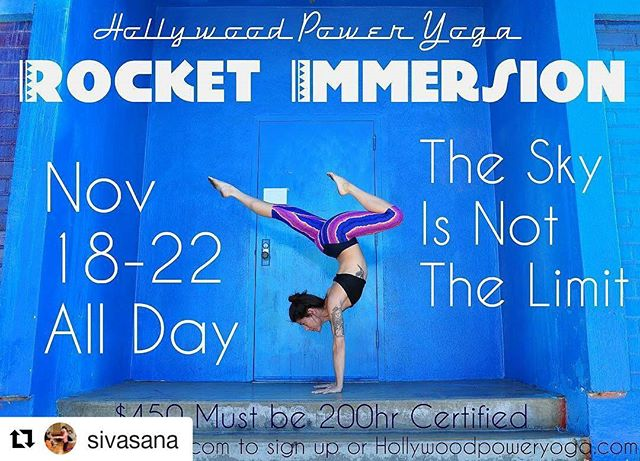 Love @sivasana's gorgeous Rocket Immersion poster and Adho Mukha Vrksasana variation. Practice this, and other asana/ transitions and study The Rocket series in our five day intensive @hollywoodpoweryoga  Will likely be the last Rocket intensive in Los Angeles for some time... Join me, @yancyscotschwartz, @sivasana and (if we're lucky) @veredlenn and the LA & HPY Rocket community.  #itgetsyoutherefaster #intuition #intention #dedication #dailypractice #transformation #evolution #change #love #yoga #rocketyoga #ashtanga #ashtangayoga #hollywoodyoga #losangelesyoga