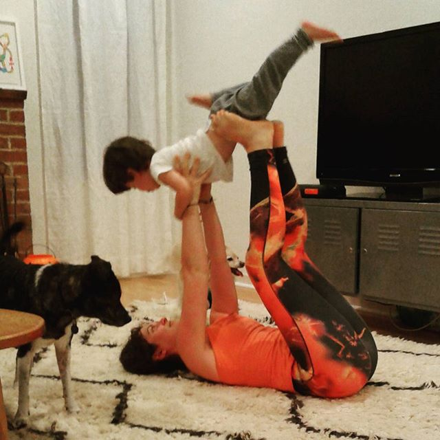 Acro Yoga with my buddy, Winston. Winston is versed in #downwardfacingdog #poopoo #highfives #dancing #handstand #dogtraining #trustfalls and #kisses I love my nephew #acroyoga #yogaforkids #toddleryoga #yogafortoddlers #flying #mulabandha #trust #family #love #imwithher #heswithher #kidsforhillary #donutthedog