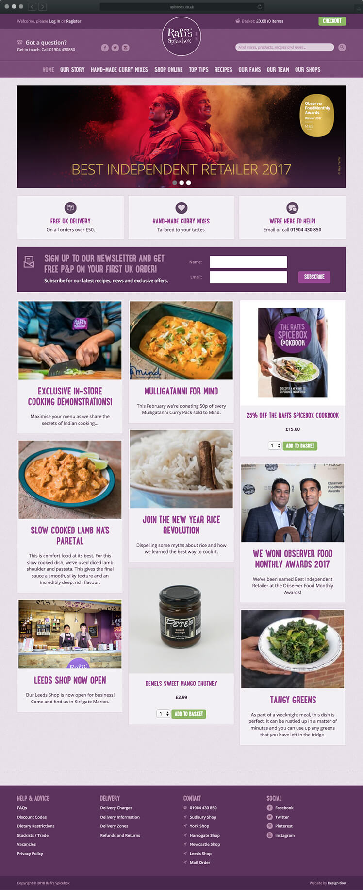 Rafi's Spice Box - Website design