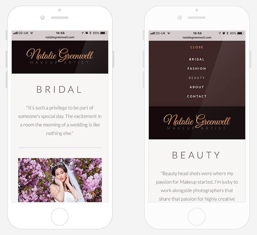 Natalie Greenwell - Website design