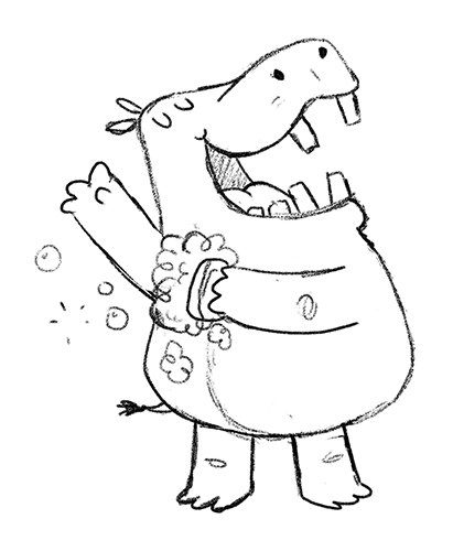 Hippo showering sketch by Chris Chatterton