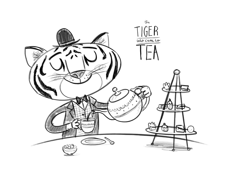 Tiger came to Tea sketch by Chris Chatterton
