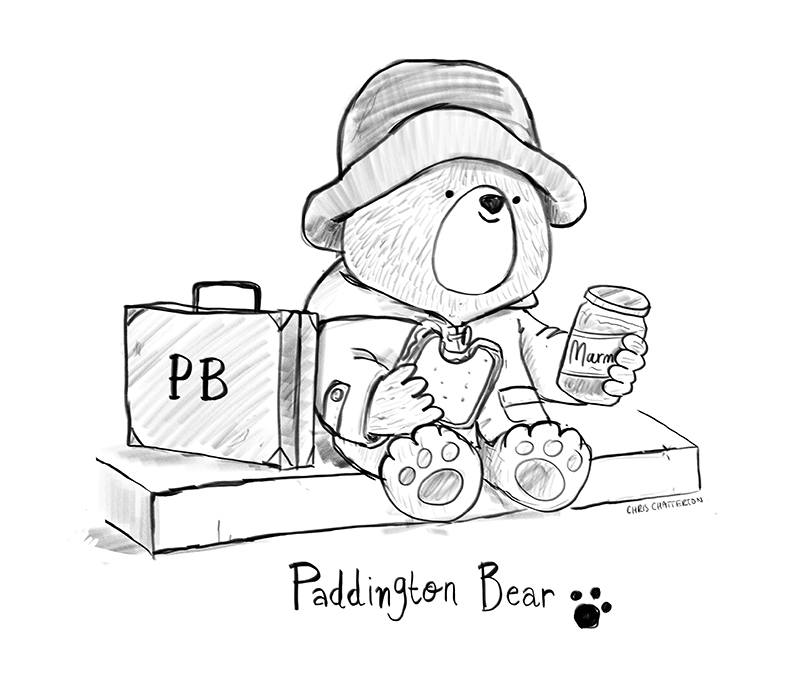 Paddington Bear eating marmalade sandwiches sketch by Chris Chatterton