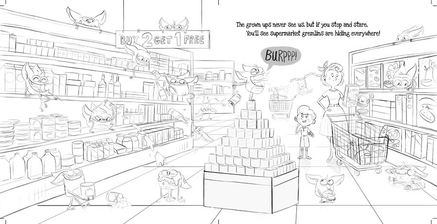 Supermarket Gremlins original pitch sketch