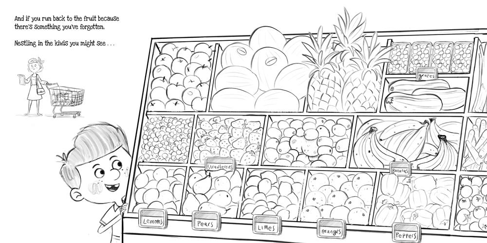 Supermarket Gremlins Pencil Sketch