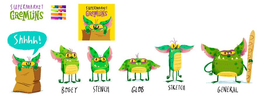 Supermarket Gremlins original pitch sketches