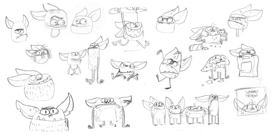 Supermarket Gremlins Character Sketches illustrated by Chris Chatterton