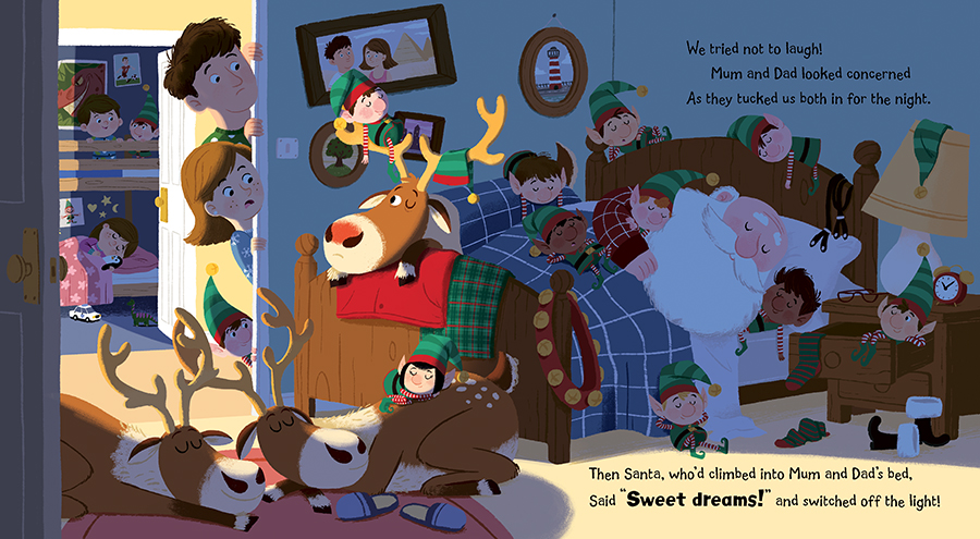 When Santa Came to Stay spread illustrated by Chris Chatterton