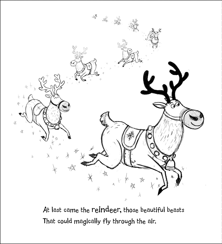 When Santa Came to Stay sketches illustrated by Chris Chatterton