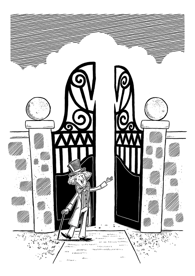 Willy Wonka at factory gates illustration by Chris Chatterton