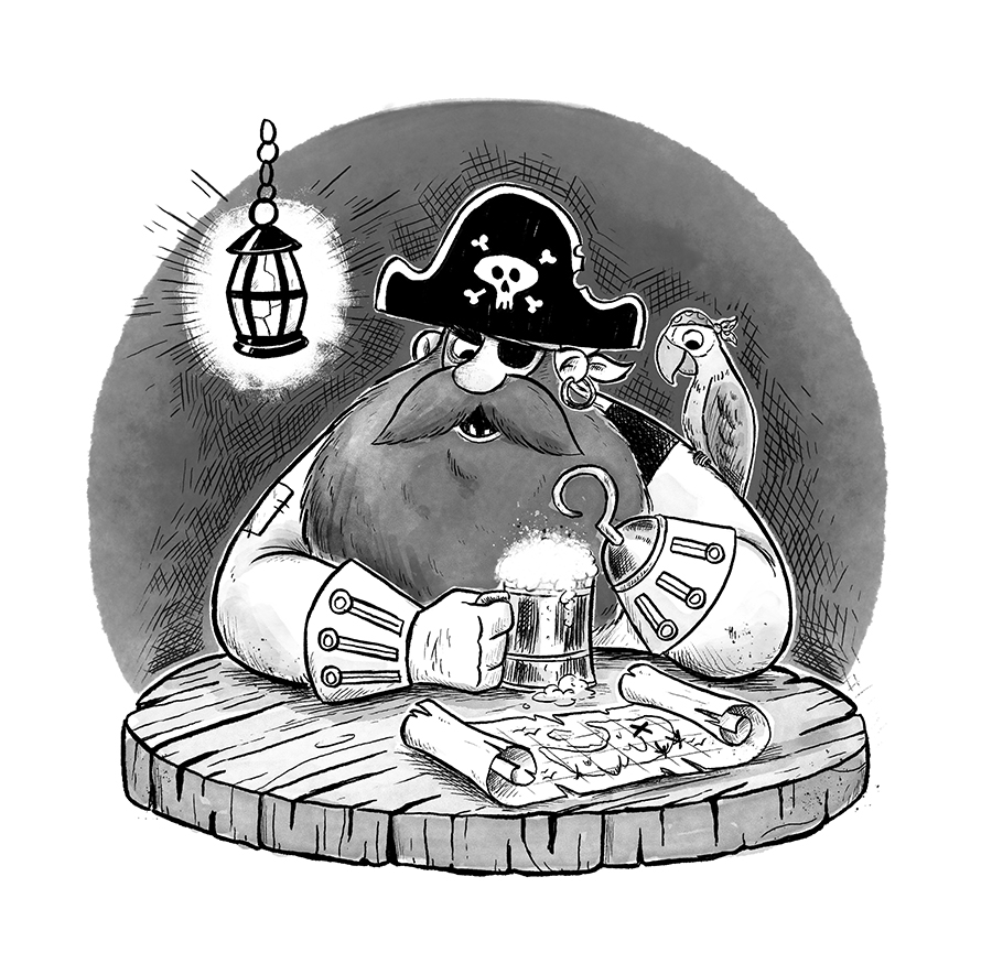 Pirate with parrot and map illustration by Chris Chatterton