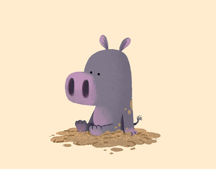 An unhappy Hippo sitting in the mud illustration by Chris Chatterton