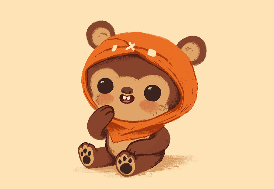 Cute baby Ewok from Star Wars illustration by Chris Chatterton