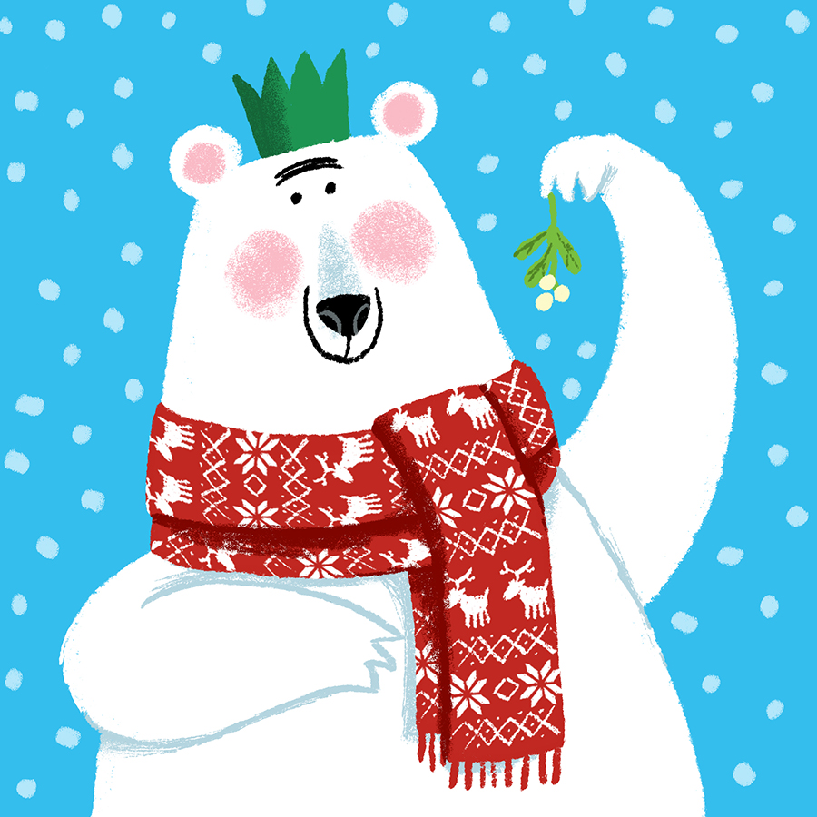 Polar Bear with mistletoe illustration by Chris Chatterton
