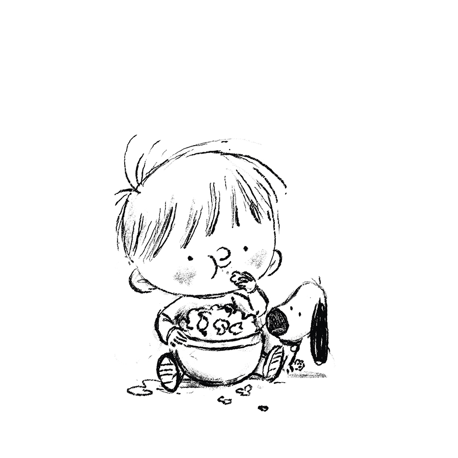 boy and dog eating popcorn sketch by Chris Chatterton
