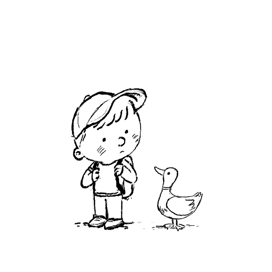 boy and duck sketch by Chris Chatterton